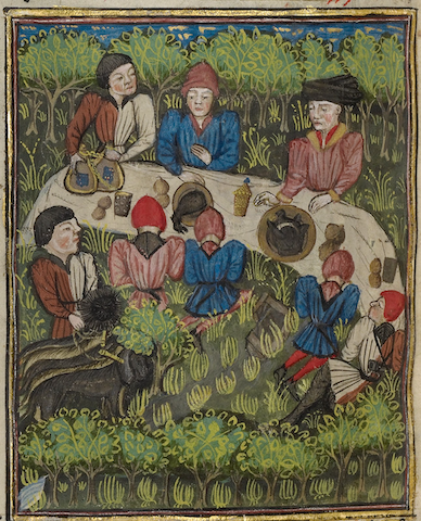lush illumination of medieval hunters eating in field with dogs