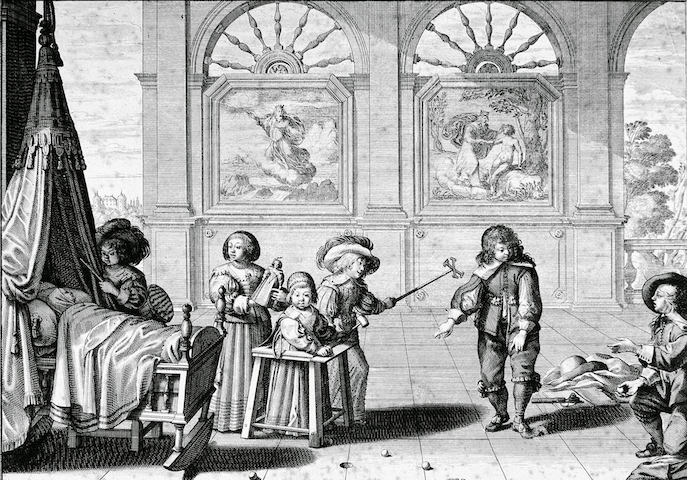 engraving of children playing with toys in chamber