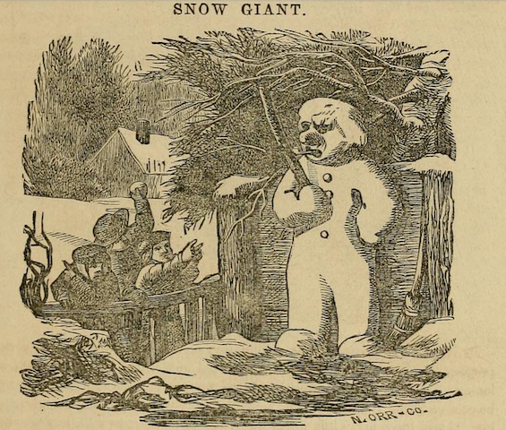 "illustration of children and ""SNOW GIANT"" with pipe"