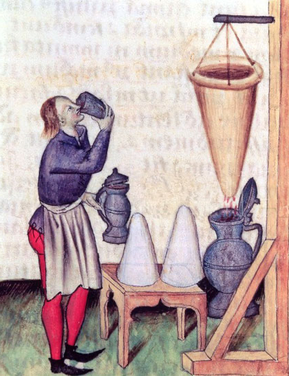 manuscript illustration of man preparing spiced wine with strainer