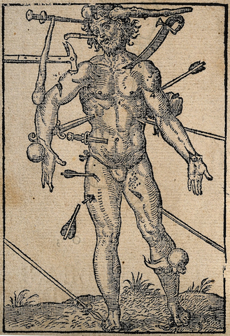 engraving of naked man pierced by hammers, spears, swords, cannonballs, clubs
