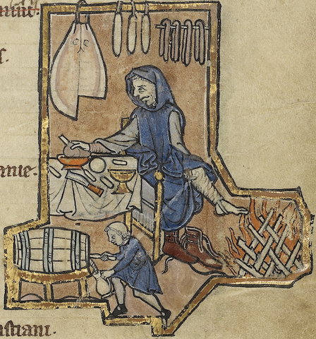 illumination of man warming feet at fire while tiny man fills jug from barrel; lots of cured meat