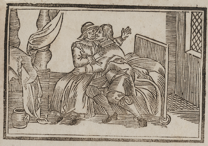 woodcut of man embracing woman on bed