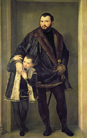 painting of father with arm around
