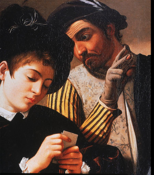 painting of two men cheating at cards