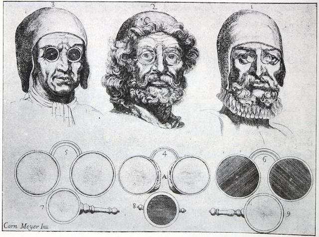 engraving of three men modeling spectacles, one with dark pinhole lenses