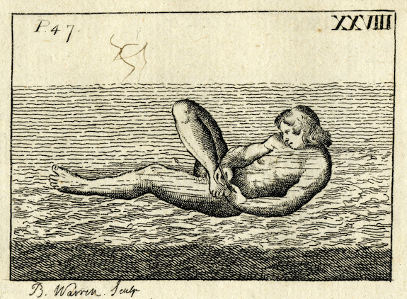 engraving of naked man in water trimming toenails with knife