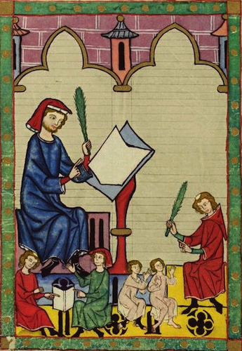 manuscript image of master at desk and very tiny students