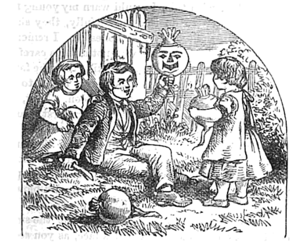 illustration of children holding turnips, one carved
