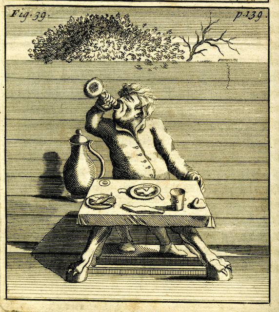 engraving of man guzzling wine at a small table