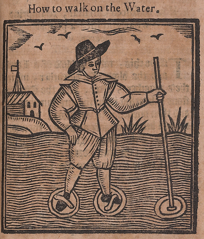 woodcut of man demonstrating technique with timbrels on water