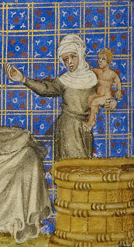 manuscript illustration of woman holding naked infant over tub